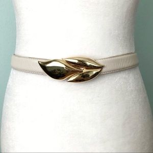 Vintage Leather Belt Gold Tone Leaf Buckle 80s